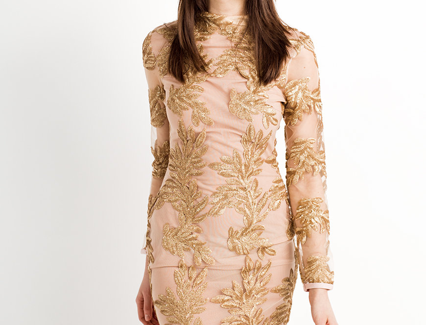 SELENE | Embellished gold sequin dress