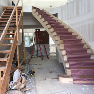 Custom Curved Stairs, White Oak stairs,