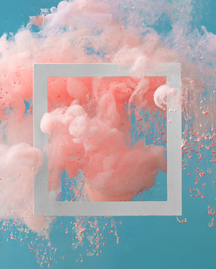 Abstract pastel coral pink color paint with pastel blue background. Fluid creative concept