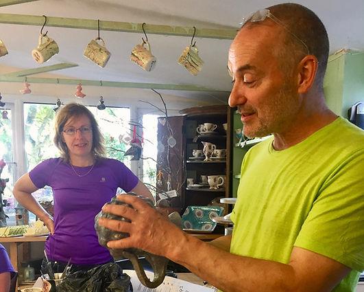 Mark Haillay teaching a class at Oxton Pottery