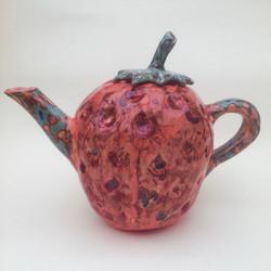 Slipware Strawberry Teapot