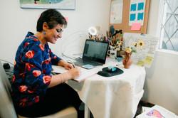 Bahar in her office/art studio
