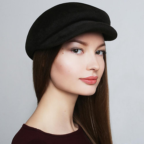French Style Black Fur Felt Cap Hat