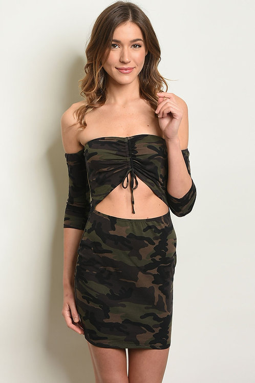Sexy Stretch Body Con cut out sides Camouflage Print Dress