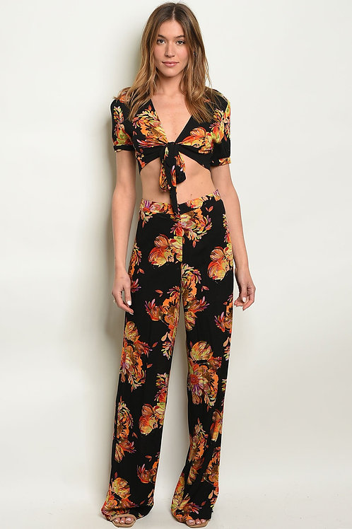 Black Floral Top & Pants Set