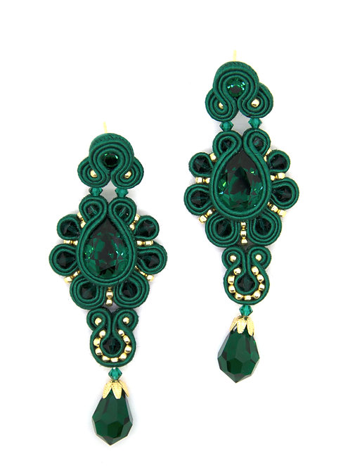 Long Drop Beaded Earrings Swarovski Stones in Emerald green Color