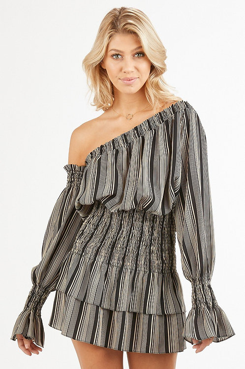 Striped One Shoulder Smock Tiered Dress black gray