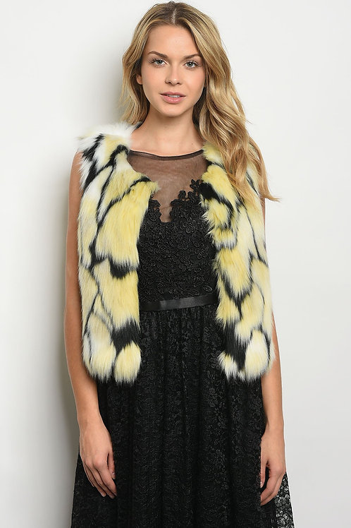 Yellow Black Faux Fur Vest
