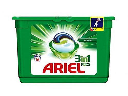 Doses de lessive liquide 3en1 Ariel Pods 16 Original 24980