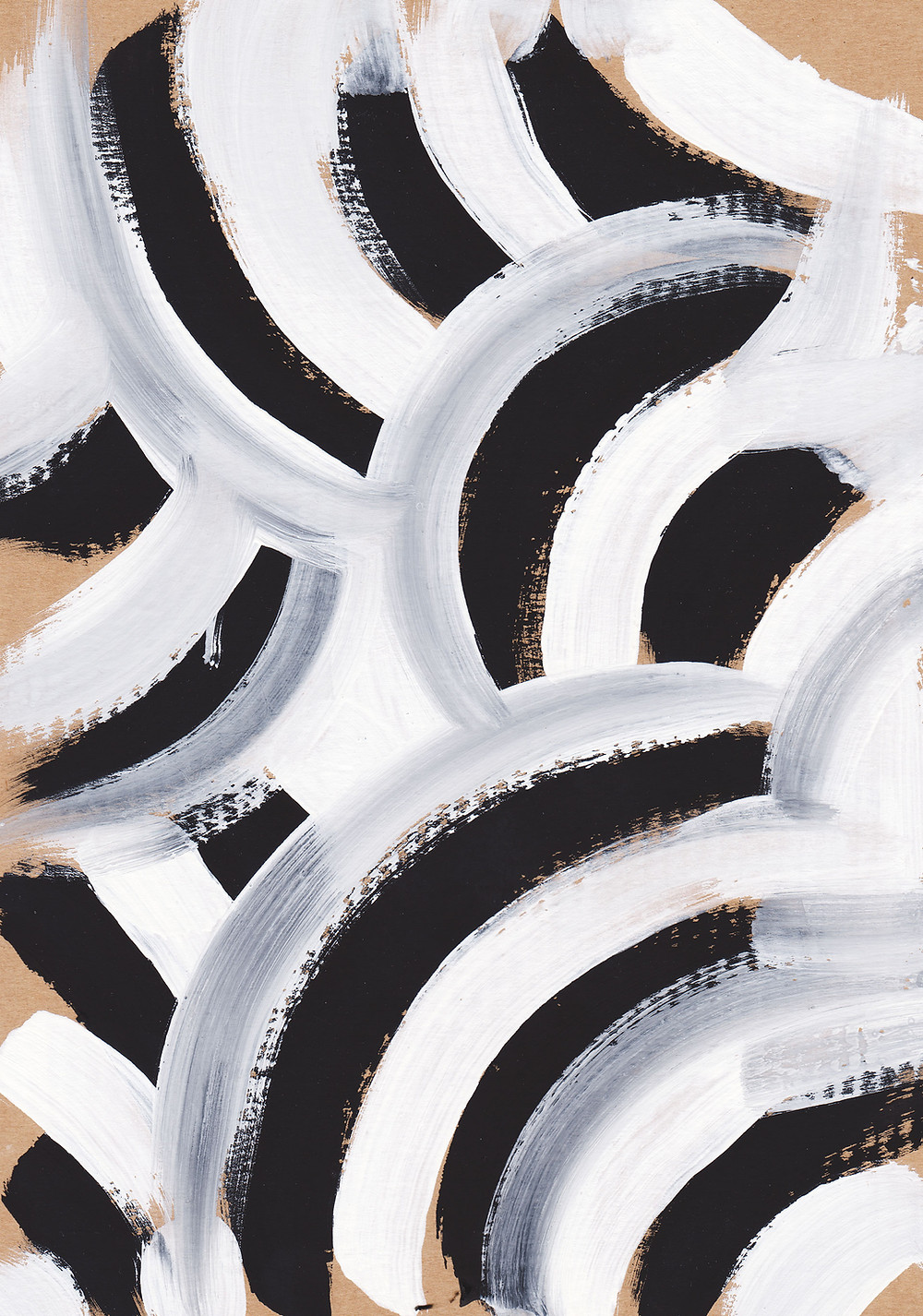 zebra inspired abstract art of black white and grey