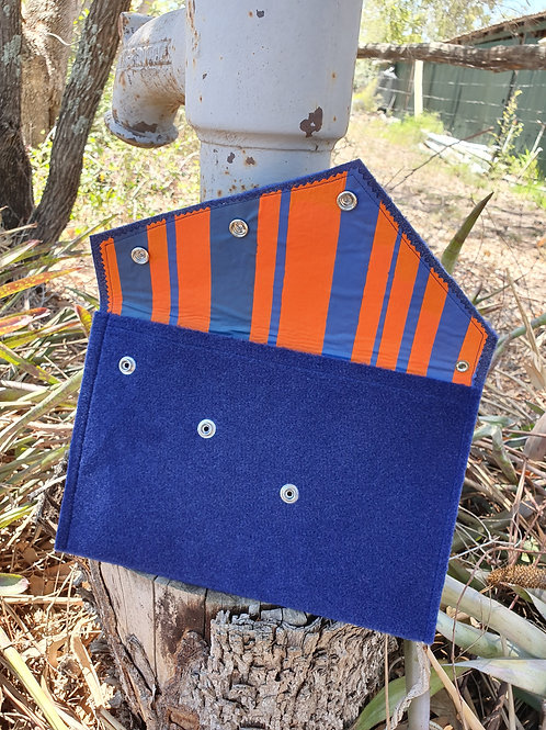 Over - Sized Felt Clutch - Navy Blue & Orange Stripes