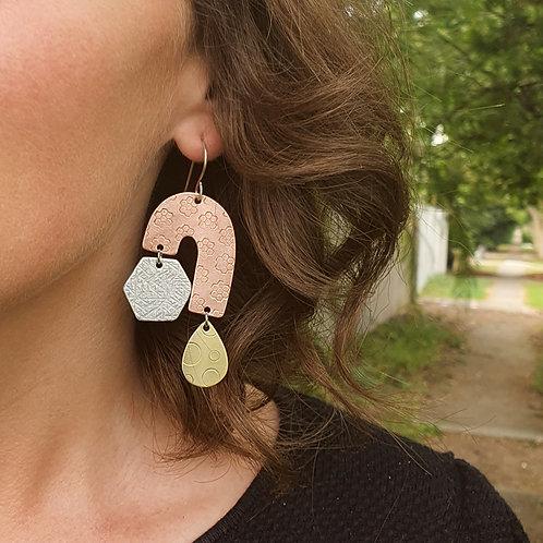 Statement 3 Tier Drop Earrings - J Hexagon Tear Drop