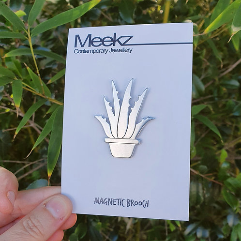 Potted Plant Brooch - Aloe Vera