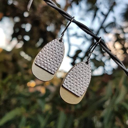 EGG DROP EARRINGS - Aluminium Dots Brass