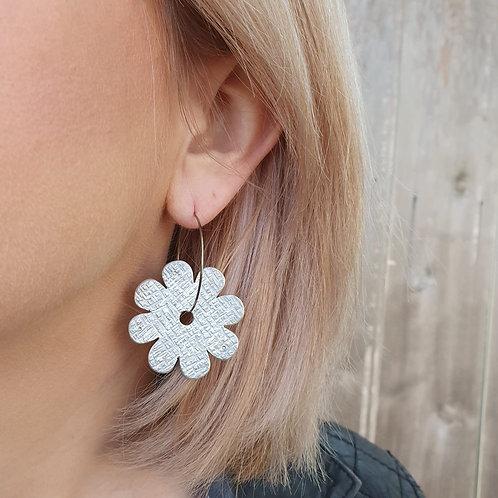Daisy Flower Hoop Earrings