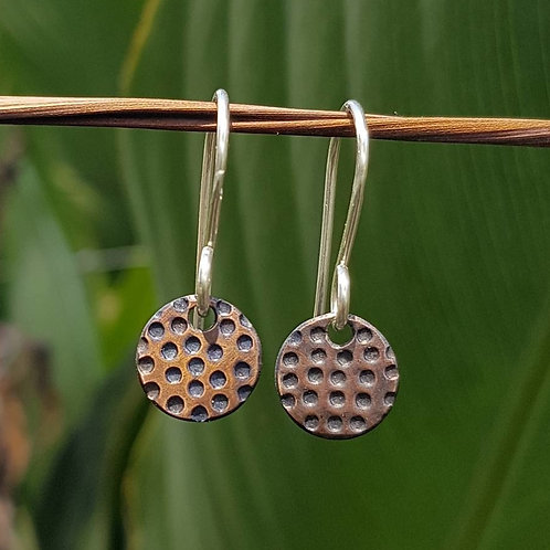 SMALL ROUND DROP EARRINGS - Copper Dots Patina