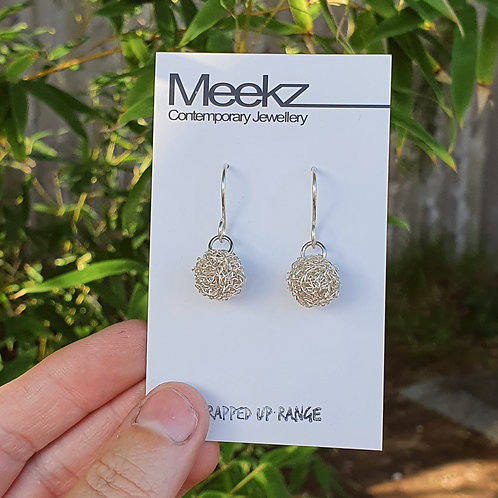 Recycled Wire Ball Earrings