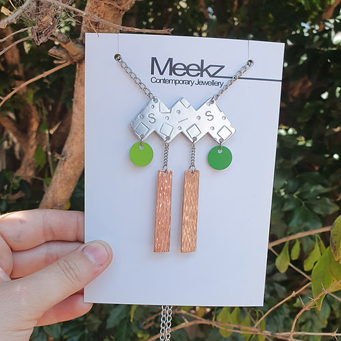 Statement Abstract Geometric Necklace - Green