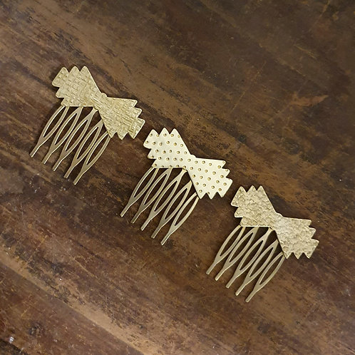 Mini Hair Comb - Art Deco Brass