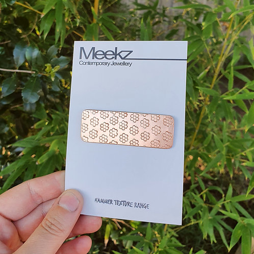 Hair Clips - Rectangle Copper Honeycomb
