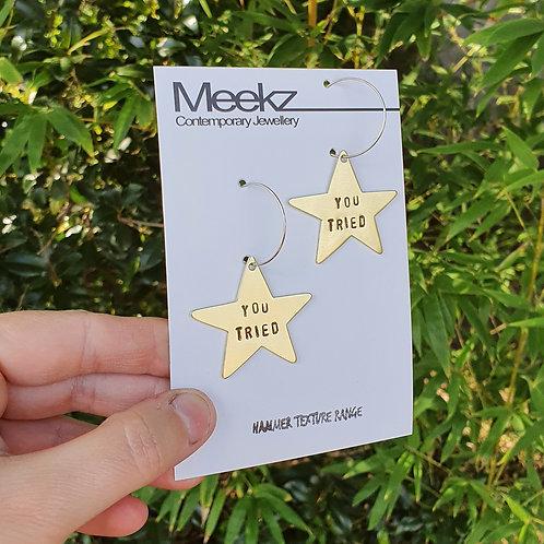 Gold Star - You Tried Hoop Earrings