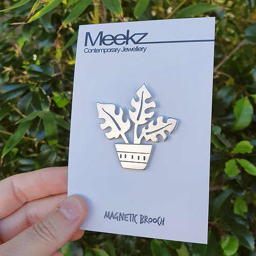 Potted Plant Brooch - Monstera