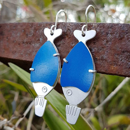Go Fish Earrings - Blue Drive Safely Sign