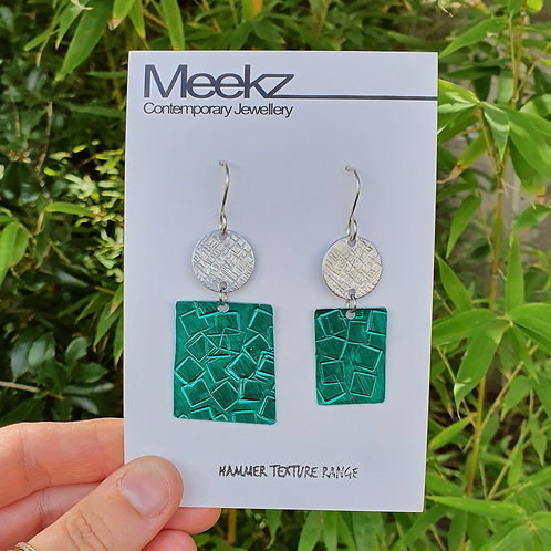Statement 2 Tier Drop Earrings - Circle & Odd Rectangles