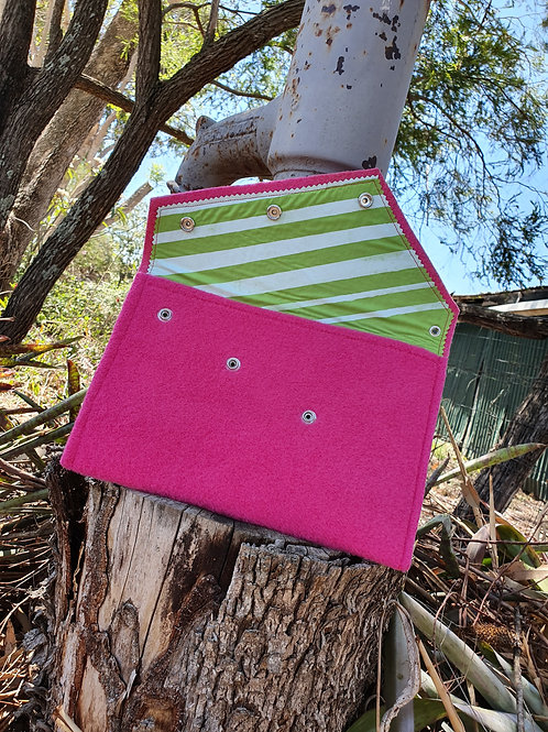 Over - Sized Felt Clutch - Pink with Green / White Stripes