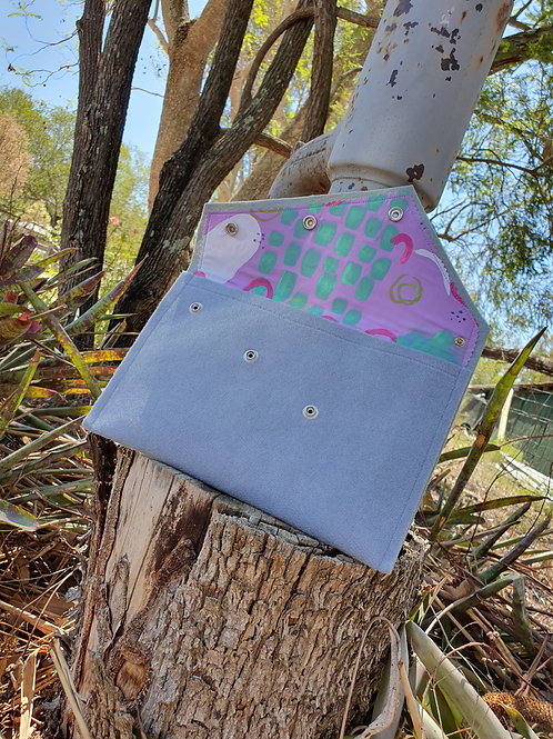 Over - Sized Felt Clutch - Grey with Purple and Green Scribbles
