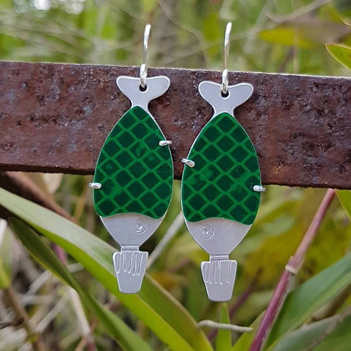 Go Fish Earrings - Green Highway Sign