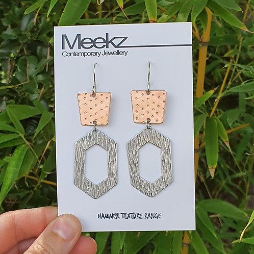 Statement 2 Tier Drop Earrings -Trapezium & Hollow Diamond