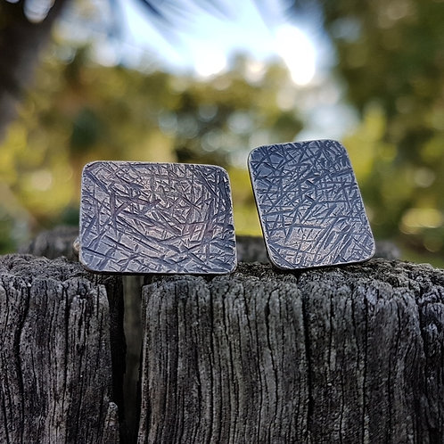 CUFF LINKS - Rectangle Crosshatch