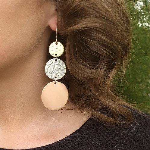 Statement 3 Tier Drop Earrings - Ascending Circles ABC
