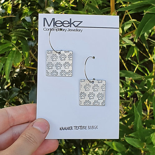 Square Paw Print Hoop Earrings