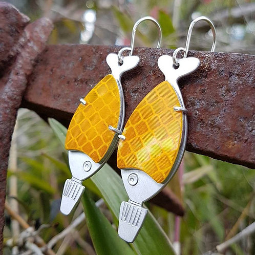 Go Fish Earrings - Yellow End of Road Works Sign
