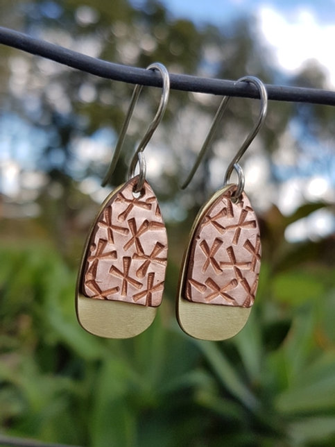 EGG DROP EARRINGS - Copper Lrg X's Crosshatch Brass