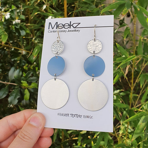 Statement 3 Tier Drop Earrings - Ascending Circles Blue