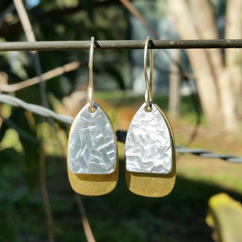 EGG DROP EARRINGS - Aluminium Wide Line Crosshatch Brass