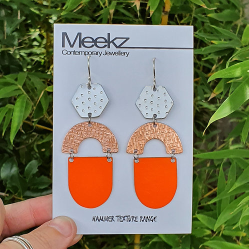 Statement 3 Tier Drop Earrings - Hexagon Arch Oval