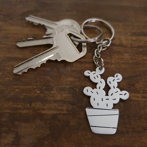 Potted Plant Key Chain - Prickly Pear Cactus