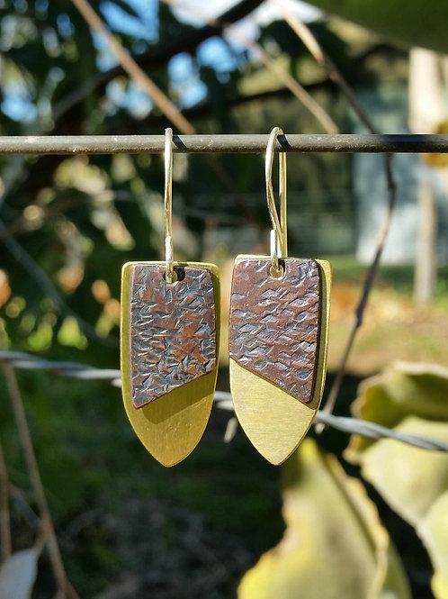SHIELD DROP EARRINGS - Copper Diamond Patina Brass