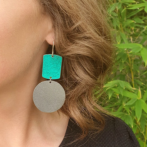 Statement 2 Tier Drop Earrings - Paint Swatch Rectangle and Circle