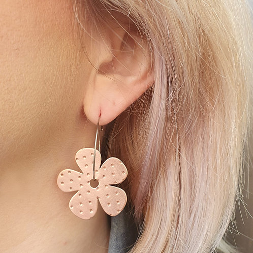 Petunia Flower Hoop Earrings
