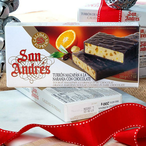 Chocolate covered Orange Marzipan bar by San Andres