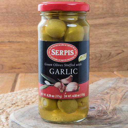 Green Spanish Olives stuffed with Garlic by Serpis