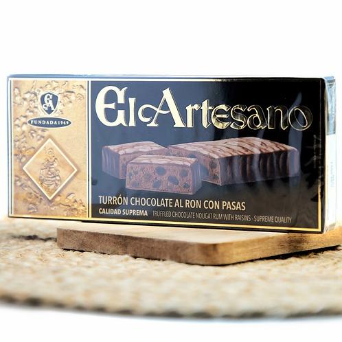 Chocolate Nougat Rum & Raisins Turron by El Artesano