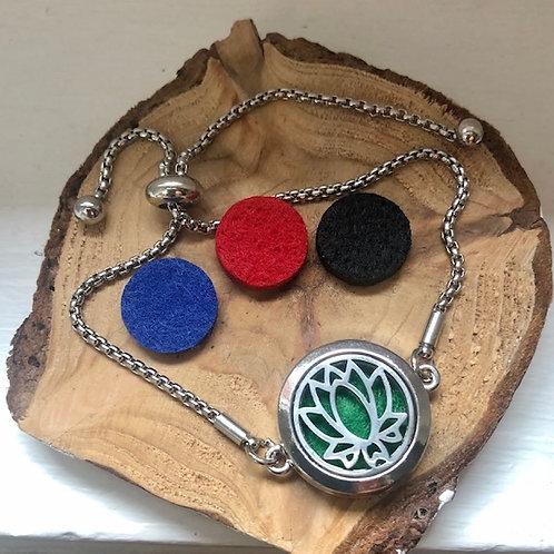 Bracelet  diffuseur d'huile essentielle fleur de lotus