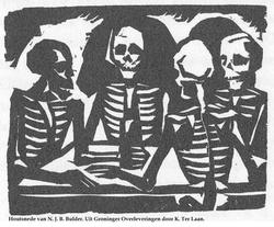 4 skeletten om de tafel op hoek Vismarkt
