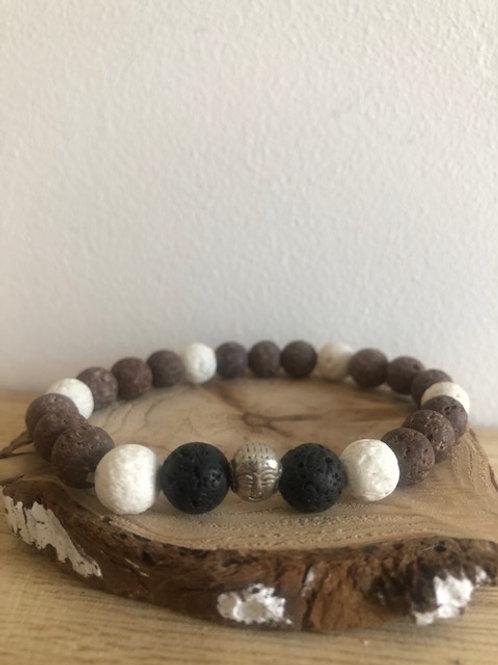 Bracelet diffuseur d'huile essentielle  pierres de lave / bouddha